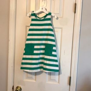 Hanna Anderson green with white striped dress